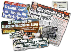 Titles in the Bild Magazine about Greece and the bailout