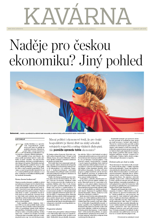 Mladá fronta DNES Aleš Chmelař Kavárna Naděje pro českou ekonomiku